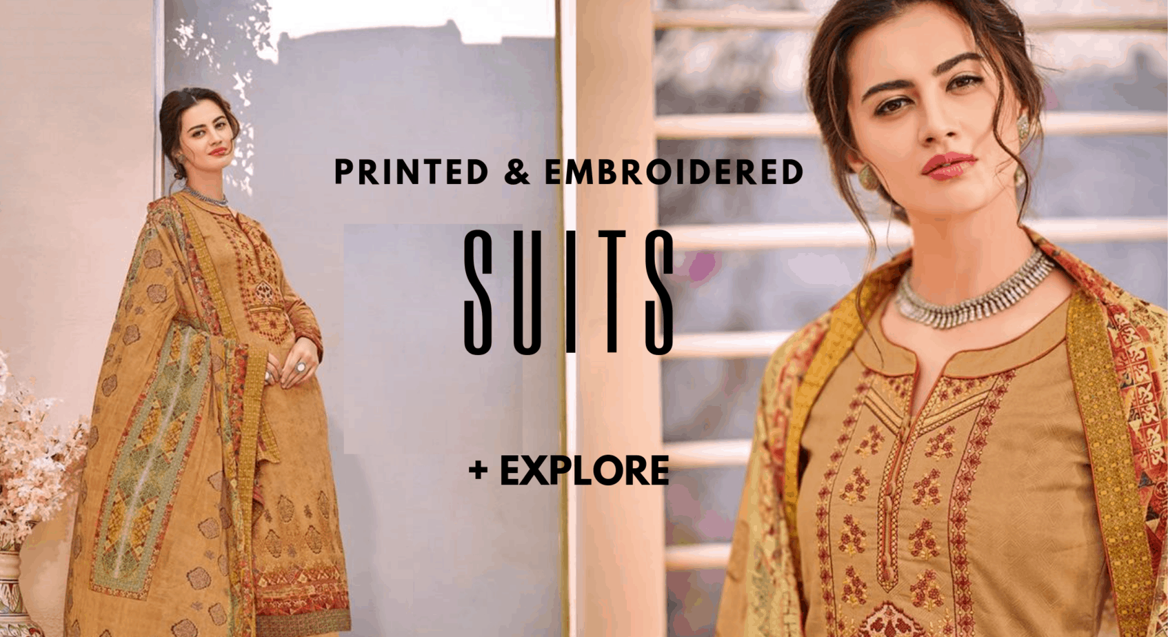 PRINTED & EMBROIDERED SATIN SUITS