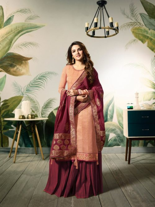 Peachpuff Modal Satin Silk With Embroidery Work Suit-theindianfashion.in