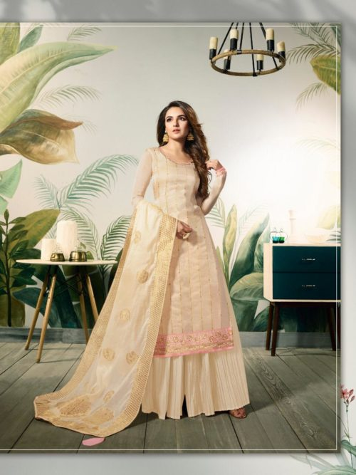 Ivory Modal Satin Silk With Embroidery Work Suit-theindianfashion.in
