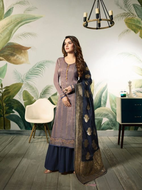 Lavender Modal Satin Silk With Embroidery Work Suit-theindianfashion.in