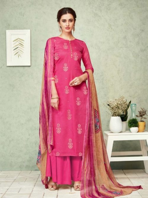 Pink Pure Zam Foil Print With Work Suit-theindianfashion.in