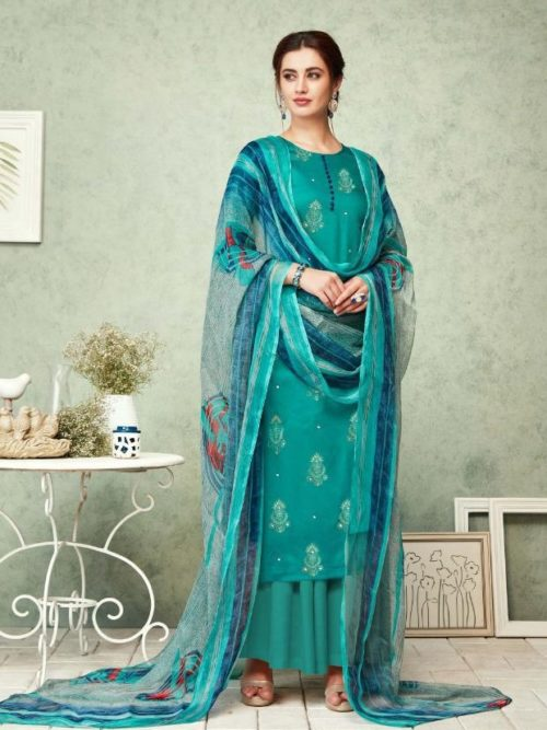 Green Pure Zam Foil Print With Work Suit-theindianfashion.in