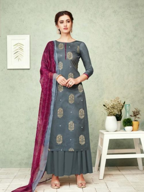 Grey Pure Zam Foil Print With Work Suit-theindianfashion.in