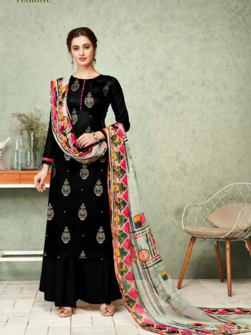 Black Zam Foil Print With Work Suit-theindianfashion.in