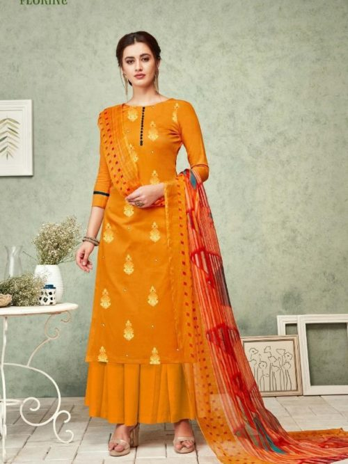 Orange Pure Zam Foil Print With Work Suit-theindianfashion.in
