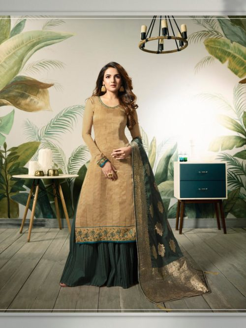 Tan Modal Satin Silk With Embroidery Work Suit-theindianfashion.in