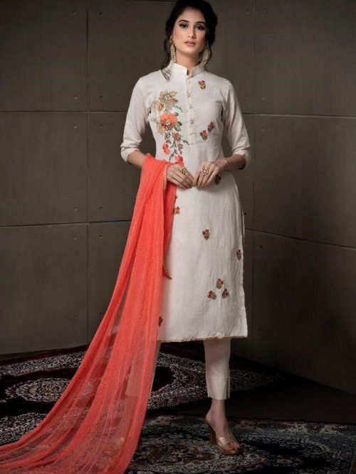 White Fancy Linen Cotton With Embroidery Suit-theindianfashion.in