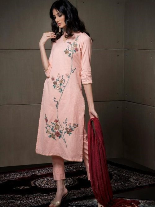 Peachpuff Fancy Linen Cotton With Embroidery Suit-theindianfashion.in