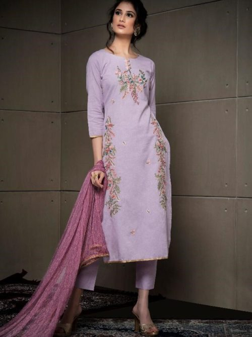 Plum Fancy Linen Cotton With Embroidery Suit-theindianfashion.in