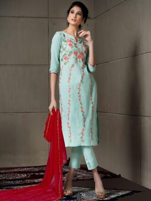 Pista Fancy Linen Cotton With Embroidery Suit-theindianfashion.in