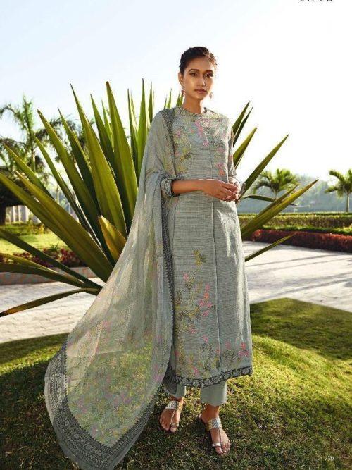 Grey Cotton Lawn Digital Print With Handwork Suit -theindianfashion.in