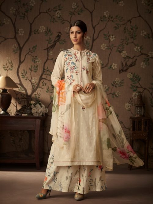 Tan Cressa Cotton Embroidery Swarovski Work Suit-theindianfashion.in
