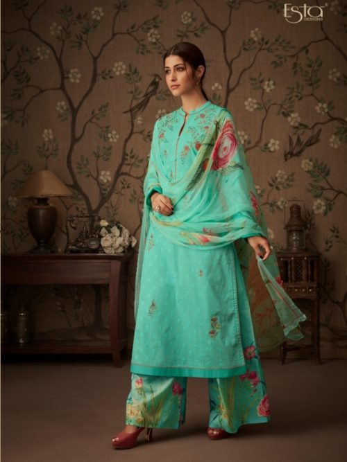 Green Cressa Cotton Embroidery Swarovski Work Suit-theindianfashion.in