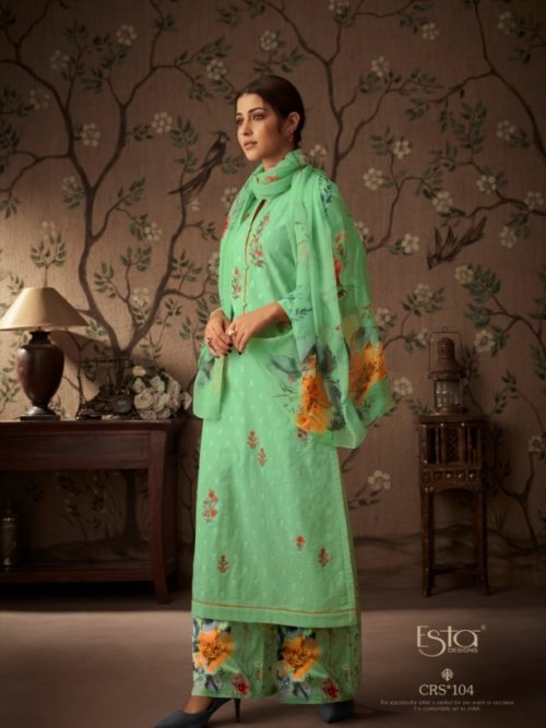 Green Cressa Cotton Embroidery Swarovski Work--theindianfashion.in