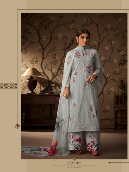 Esta-Presents-Cressa-Cotton-Dobby-Embroidery-Swarovski-Work-Suits-CRS-109