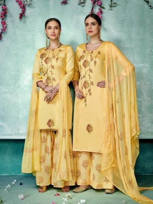 Yellow Pure Zam Cotton With Designer Work Suit