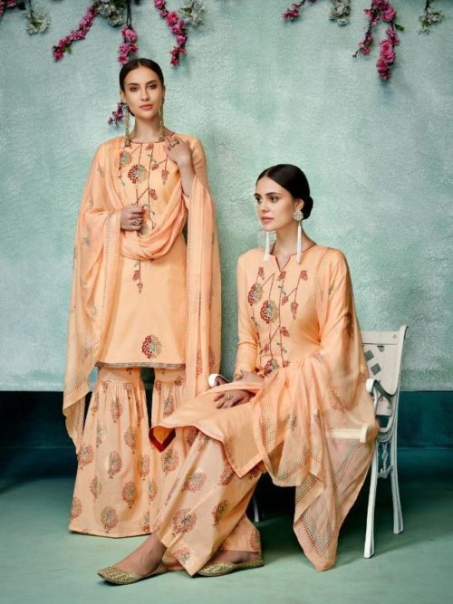 Peach Pure Zam Cotton With Designer Work Suit