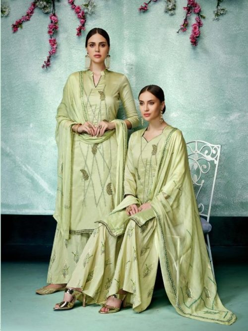 Pista Green Pure Zam Cotton With Designer Work Suit