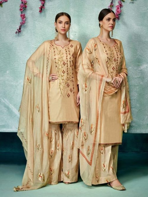 Gold Color Pure Zam Cotton With Designer Work Suit