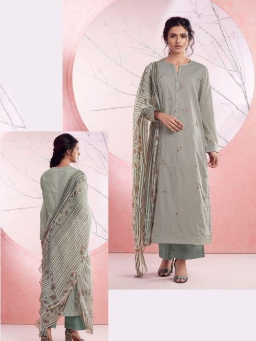 Grey Cotton Lawn Digital Print With Embroidery Suit