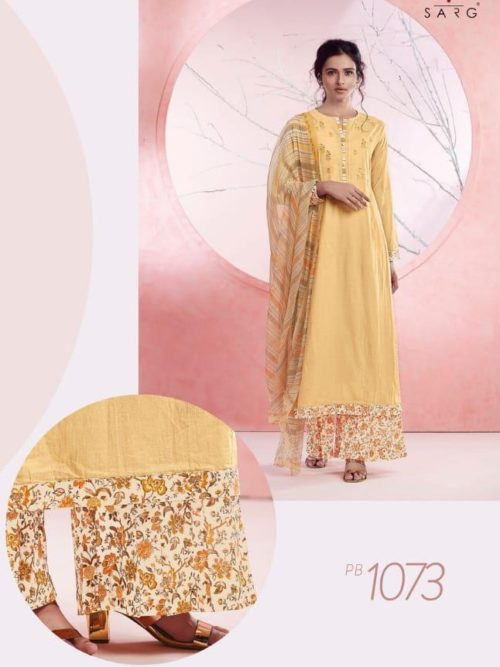 Light Yellow Cotton Lawn Digital Print With Embroidery Suit