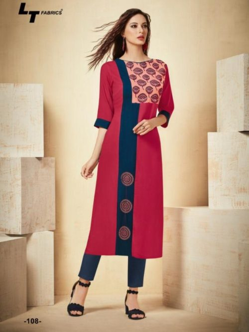 Red Rayon Kurti With Work-theindianfashion.in