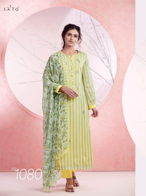 Green Cotton Lawn Digital Print With Embroidery Suit