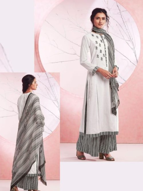 White Cotton Lawn Digital Print With Embroidery Suit