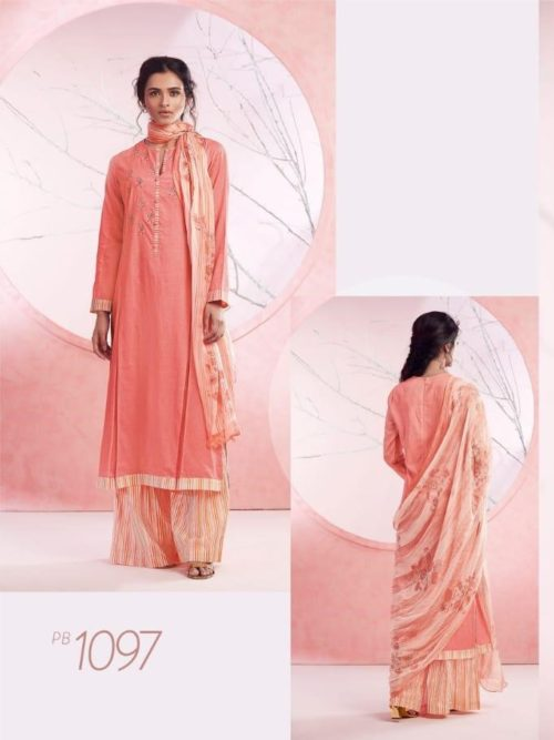 Peach Cotton Lawn Digital Print With Embroidery Suit