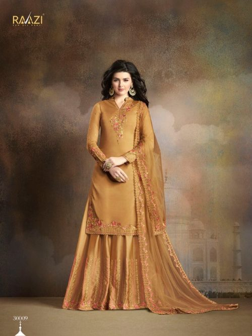 Gold Silk With Embroidery Sharara Suit
