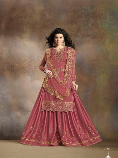 Pink Silk With Embroidery Sharara Suit