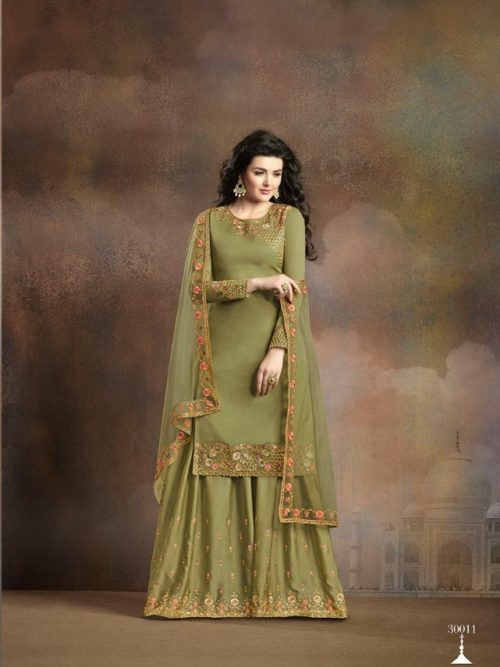 Green Silk With Embroidery Sharara Suit