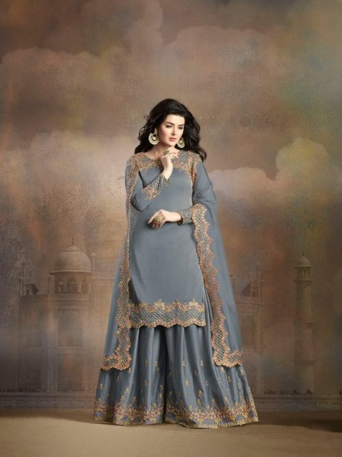Grey Silk With Embroidery Sharara Suit