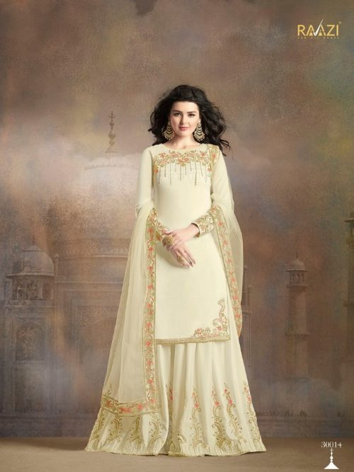 Cream Silk With Embroidery Sharara Suit