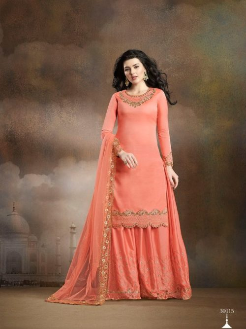 Peach Silk With Embroidery Sharara Suit