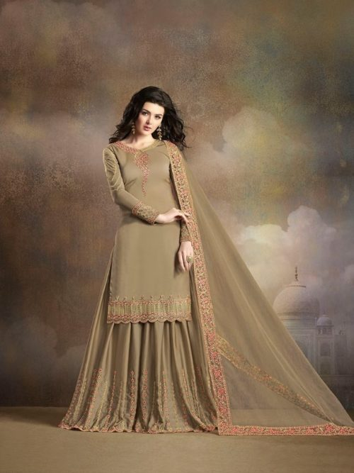 Tan Silk With Embroidery Sharara Suit