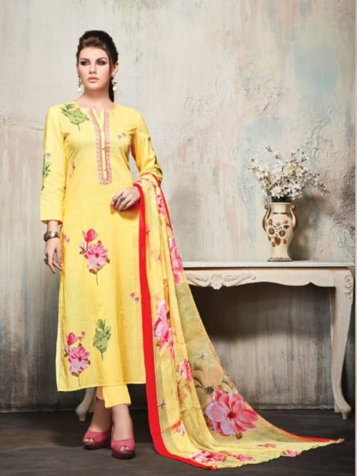Yellow Cambric Cotton Digital Print With Embroidery Suit