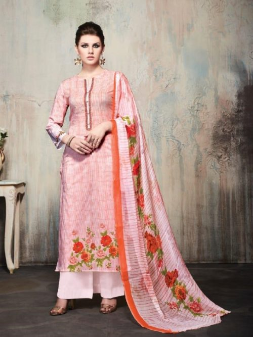 Pink Cambric Cotton Digital Print With Embroidery Suit