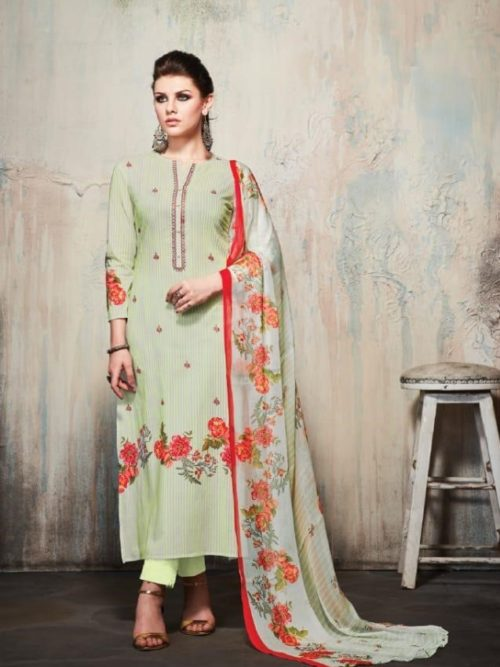 Pista Green Cambric Cotton Digital Print With Embroidery Suit