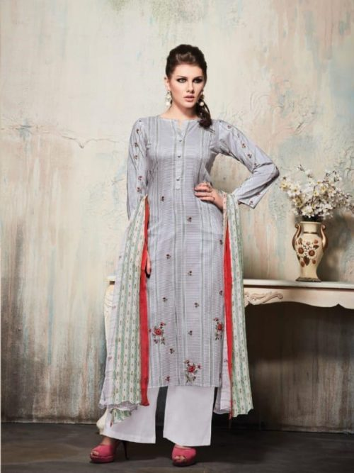 Grey Cambric Cotton Digital Print With Embroidery Suit