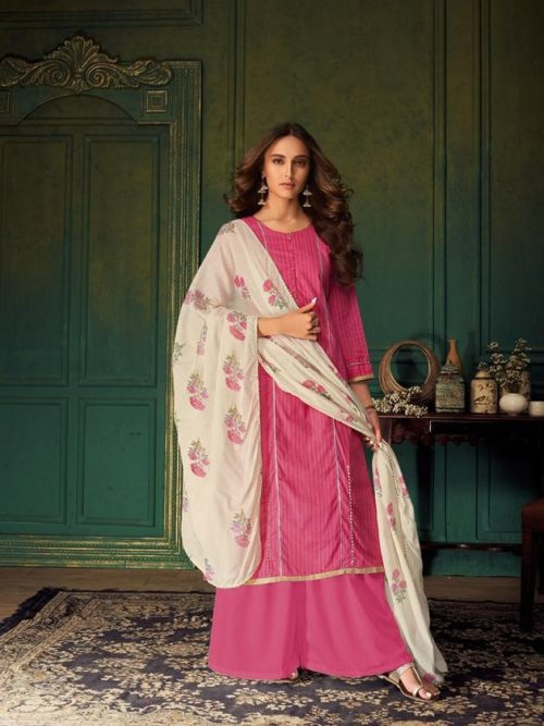 Pink Pure Cotton Printed With Handwork Suit