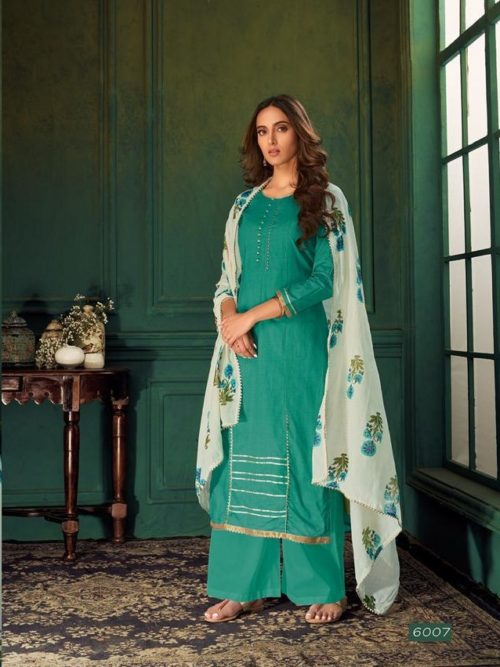 Green Pure Cotton Printed With Handwork Suit