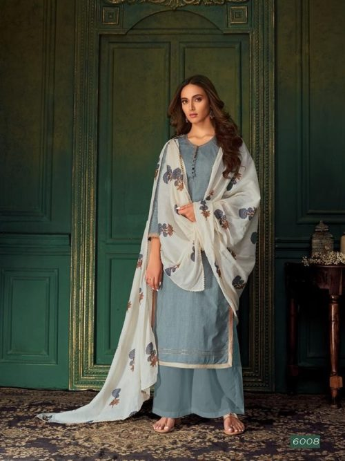 Grey Pure Cotton Printed With Handwork Suit