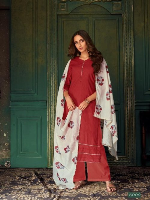 Maroon Pure Cotton Printed With Handwork Suit