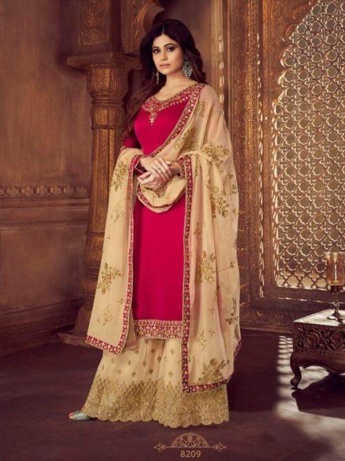 Red Real Georgette Satin Sharara Suit