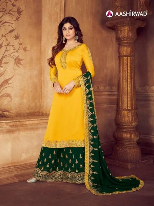 Yellow Real Georgette Satin Sharara Suit