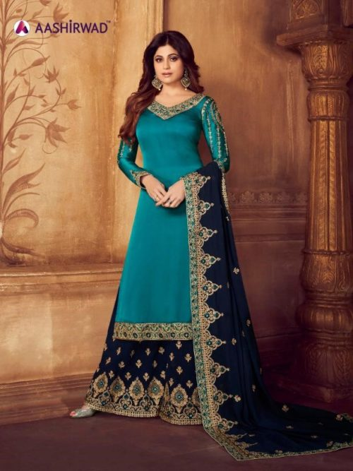Green Real Georgette Satin Sharara Suit