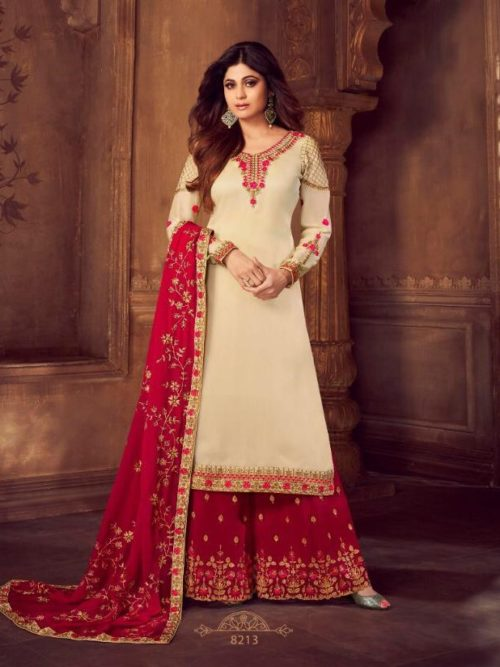 Cream Real Georgette Satin Sharara Suit