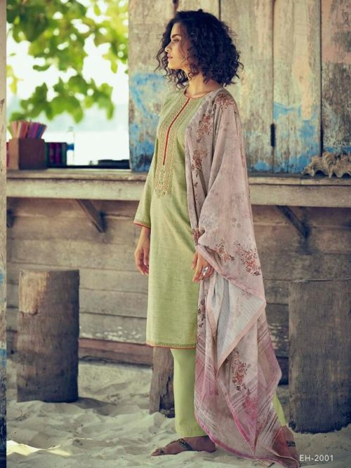 Green Fine Cotton Khadar With Embroidery Suit