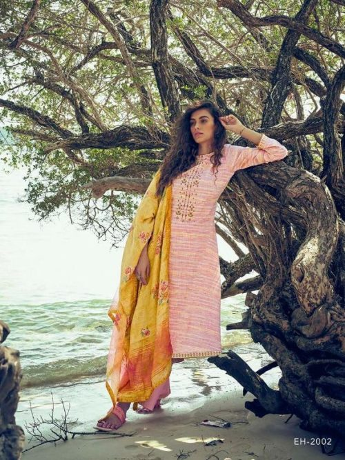 Pink Fine Cotton Khadar With Embroidery Suit
